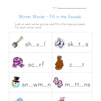winter words worksheet