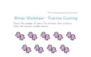 Mittens Counting Worksheet - Number Nineteen
