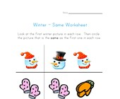 winter themed same worksheet