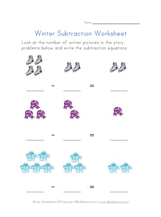 winter subtraction worksheet