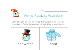 winter syllables worksheet