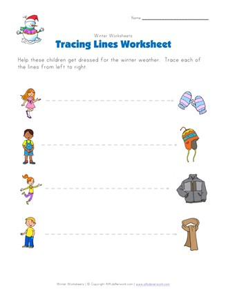 winter tracing lines worksheet