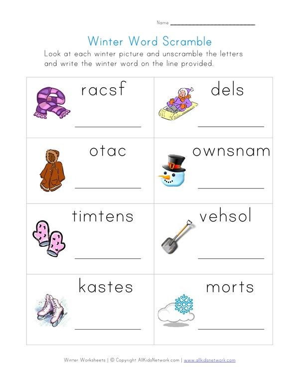 photograph about Printable Word Scramble known as Wintertime Phrase Scramble Worksheet All Small children Community
