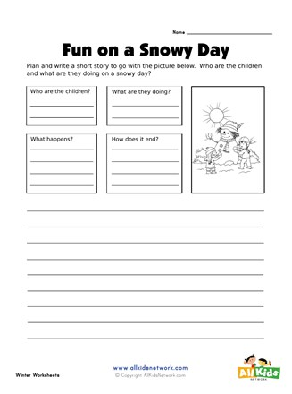 Plan and Write Worksheet - Snowman Story   All Kids Network