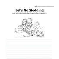 Picture Prompt Writing Worksheet - Let's Go Sledding - Primary