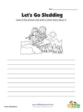 Picture Prompt Writing Worksheet - Sledding Story   All Kids ...