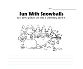 Picture Prompt Writing Worksheet - Fun with Snowballs - Primary