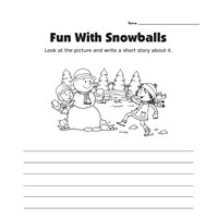 Picture Prompt Writing Worksheet - Snowball Story