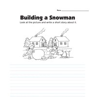 Picture Prompt Writing Worksheet - Snowman - Primary