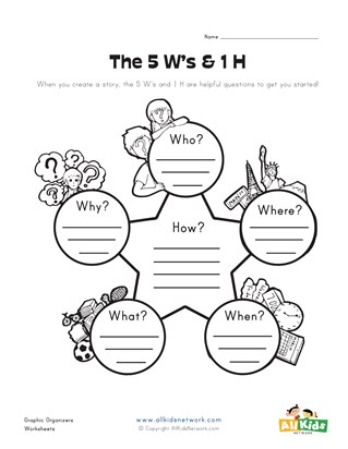 5ws graphic organizer worksheet
