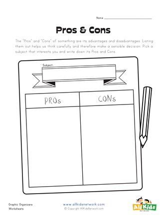 pros and cons graphic organizer
