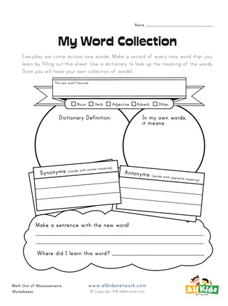 words graphic organizer