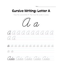 cursive letter A worksheet