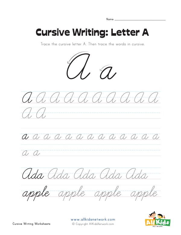 Cursive Writing Worksheet Letter A All Kids Network
