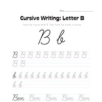cursive letter B worksheet