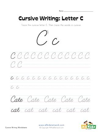 Cursive Writing Worksheet - Letter C | All Kids Network