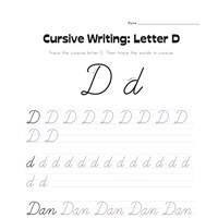 cursive letter D worksheet