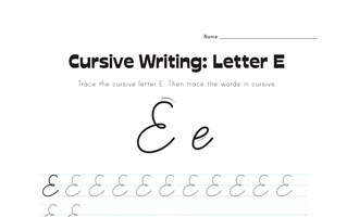 cursive letter E worksheet