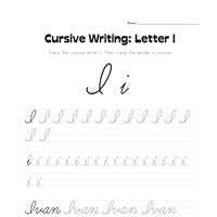 cursive letter I worksheet