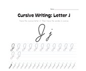 cursive letter J worksheet