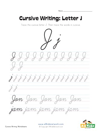 Cursive Writing Worksheet - Letter J | All Kids Network