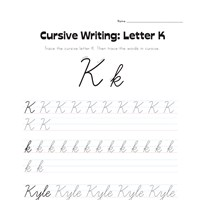 cursive letter K worksheet