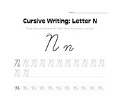 cursive letter N worksheet