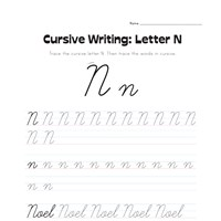 cursive writing worksheet letter n all kids network