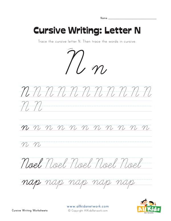 Cursive Writing Worksheet - Letter N | All Kids Network