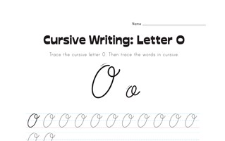cursive letter O worksheet