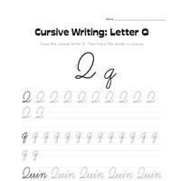 cursive writing worksheet letter q all kids network