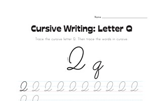 cursive letter Q worksheet