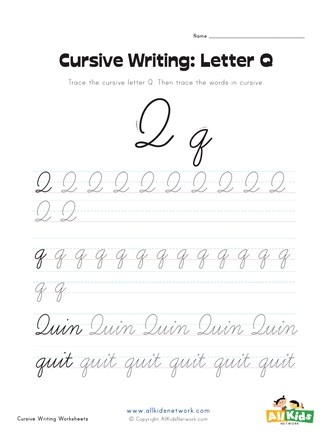 Cursive Writing Worksheet - Letter Q | All Kids Network