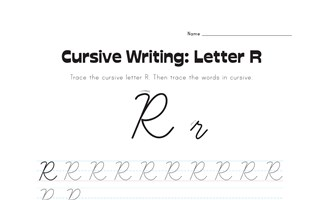 cursive letter R worksheet