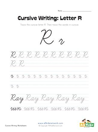 Cursive Writing Worksheet Letter R All Kids Network