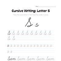 cursive letter S worksheet