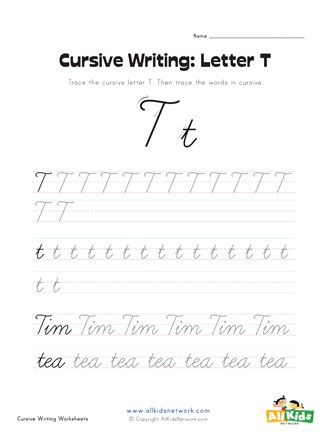cursive letter T worksheet