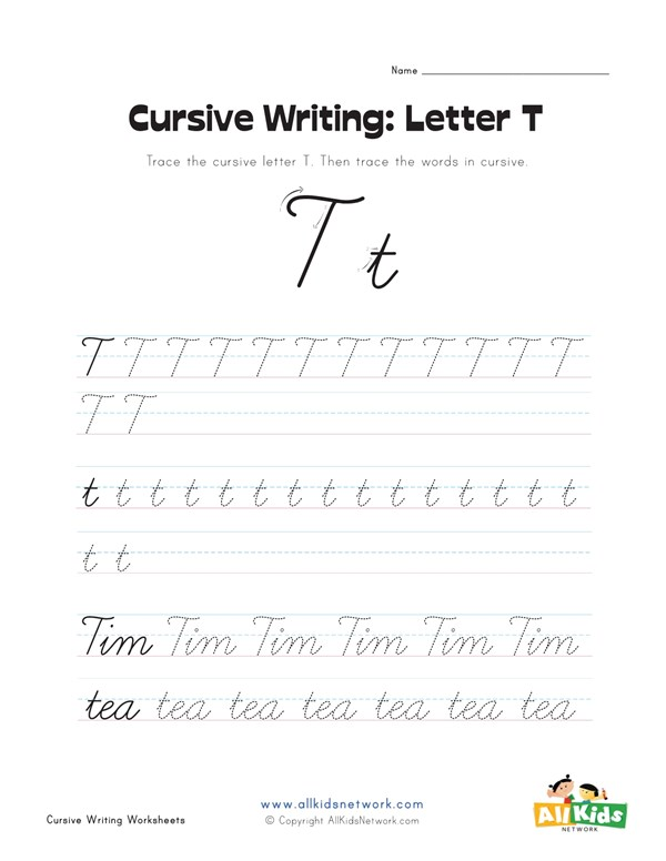 cursive writing worksheet letter t all kids network
