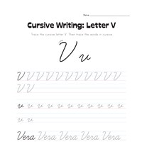cursive letter V worksheet