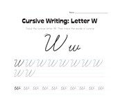 cursive letter W worksheet