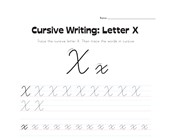 cursive letter X worksheet