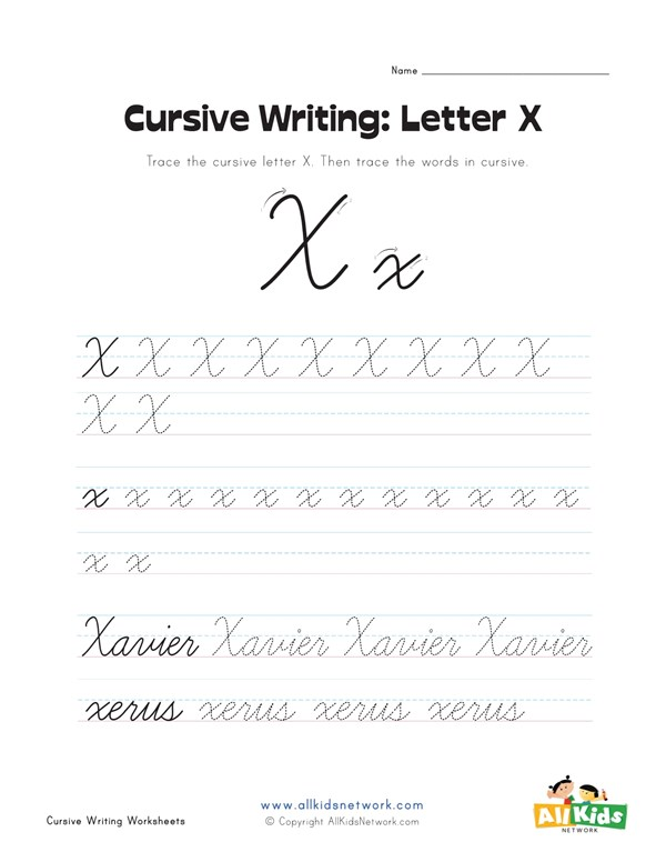 Cursive Writing Worksheet Letter X All Kids Network