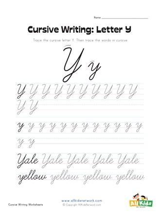 Cursive Writing Worksheet - Letter Y | All Kids Network