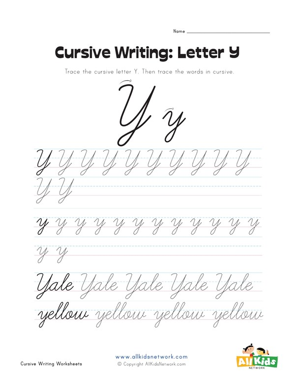 Cursive Writing Worksheet Letter Y All Kids Network