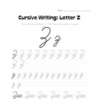 cursive letter Z worksheet