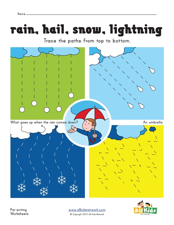 Tracing Lines Worksheet - Weather | All Kids Network