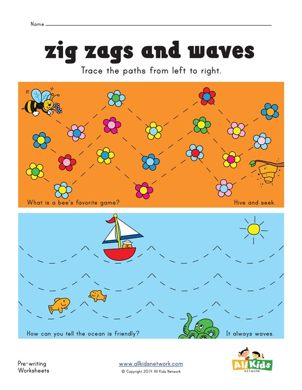 Tracing Zig Zag and Wavy Lines Worksheet   All Kids Network