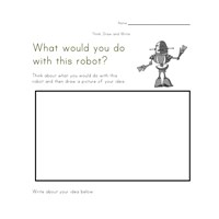 robot writing worksheet