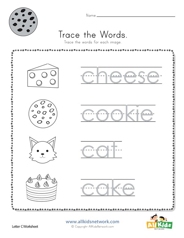 Trace The Letter C Words All Kids Network