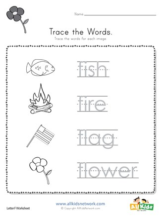 Trace the Letter F Words | All Kids Network